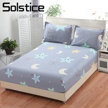 Solstice Home Textile Kid Child Bed Fitted Sheet 100% Cotton Boy Girl Bedding Mattress Cover 100/180*200cm King Queen Single 1Pc