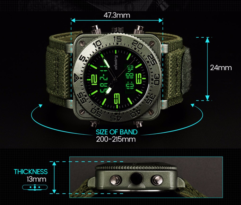 INFANTRY Military Watch Men Square Digital LED Wristwatch Mens Watches Top Brand Tactical Army Sport Nylon relogio masculino 4