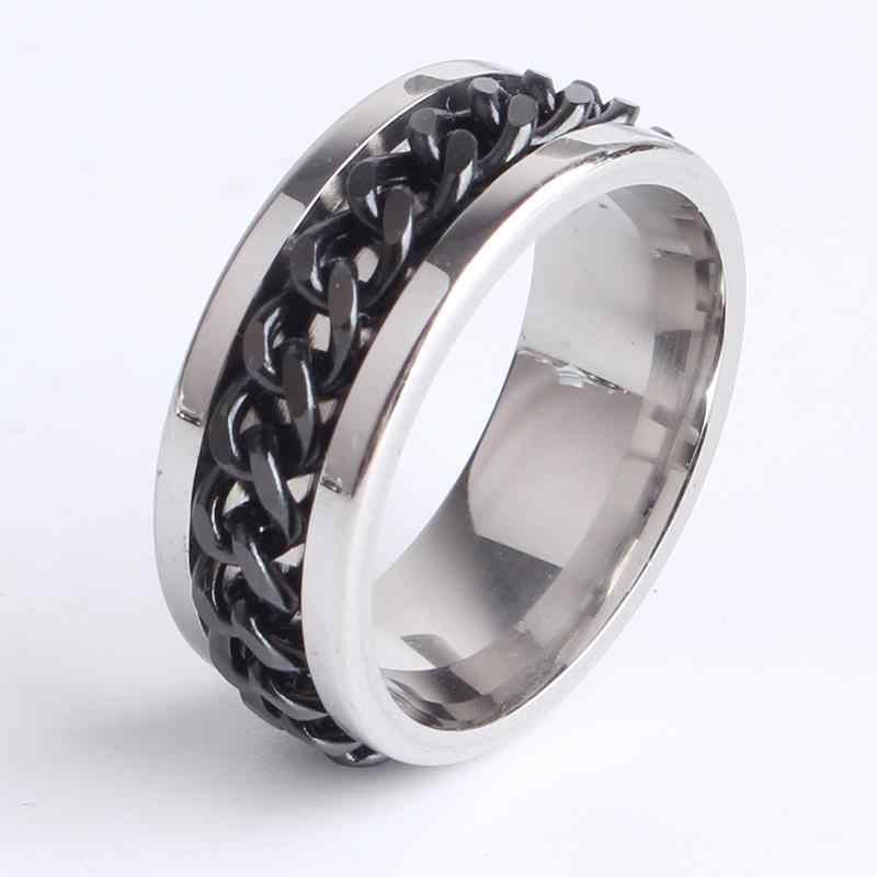 8 مللي متر الفضة شقة قلادة من سلاسل سوداء معدنية دوران 316L خاتم من الإستانليس ستيل خواتم للنساء الرجال بالجملة