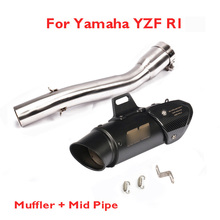 R1 Exhaust System Muffler Escape Mid Link Connect Tube Slip on Motorcycle for Yamaha YZF 1998-2002