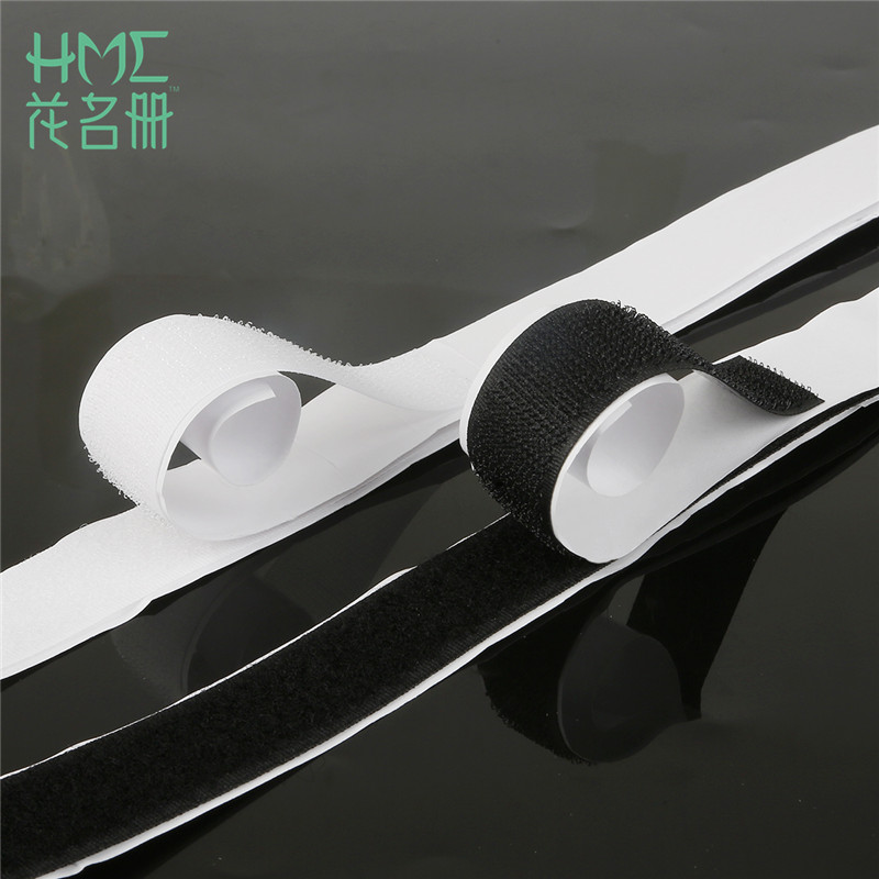 Di alta Qualità 1 pz/lotto 16-40mm * 1 m Nero Bianco Hook Loop Fastener Nastro Magico Poliestere Nylon Sticker Adesivo Dischi nastro Fascia Elastica