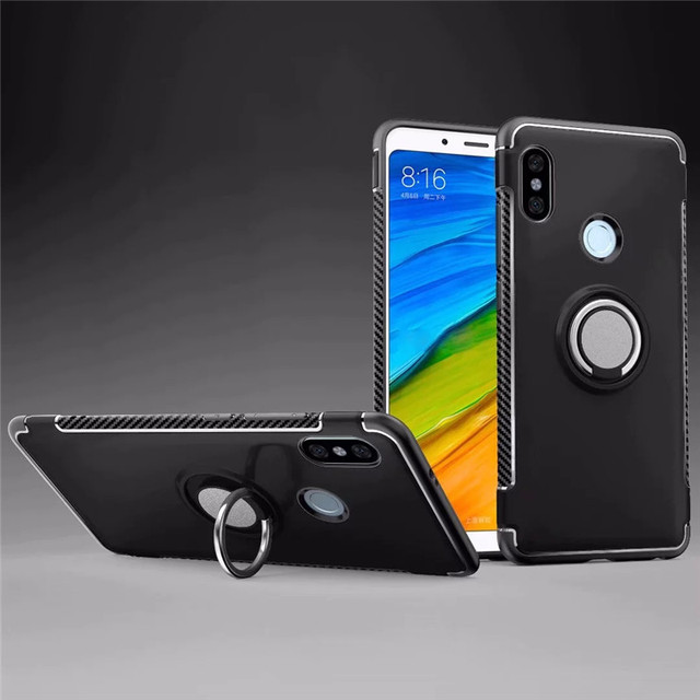 pretty nice bdea4 ee49b US $2.93 30% OFF|For Xiaomi Redmi Note 5 pro Shockproof Hybrid Armor Stand  Silicone Back Cover With 360 Ring For Redmi Note 5 Full Protect case-in ...