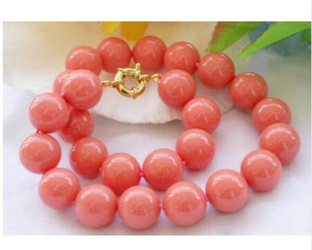 Women Gift gem beads jewelry Beautiful Natural Genuine 8mm South Sea Coral Round Beads Necklace in Chain Necklaces from Jewelry Accessories