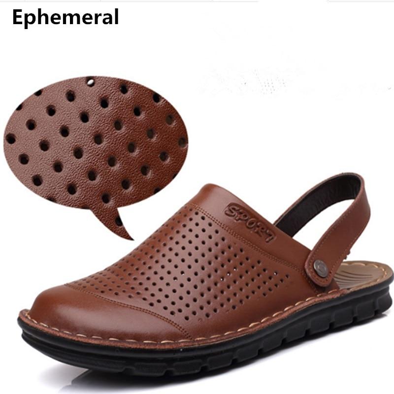 Men's Cheap Microfiber Slippers Size 48 Genuine Real Leather Back Strap Rivet Flat Cut-Outs Beach Sandals Shoes Flip Flops Camel