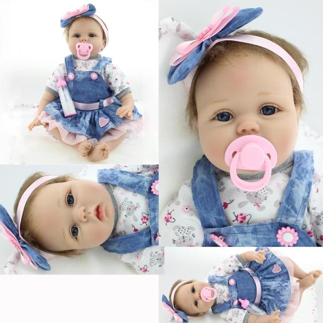 55cm 22 inch babies reborn doll cute Silicone lifelike baby doll for baby girl birthday gift
