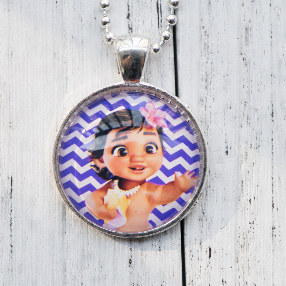 Cabochon Necklace Cartoon Moana Photo Pendant Glass Cabochon Necklace Handmade Women Jewelry Cute Birthday Party Gifts for Girl