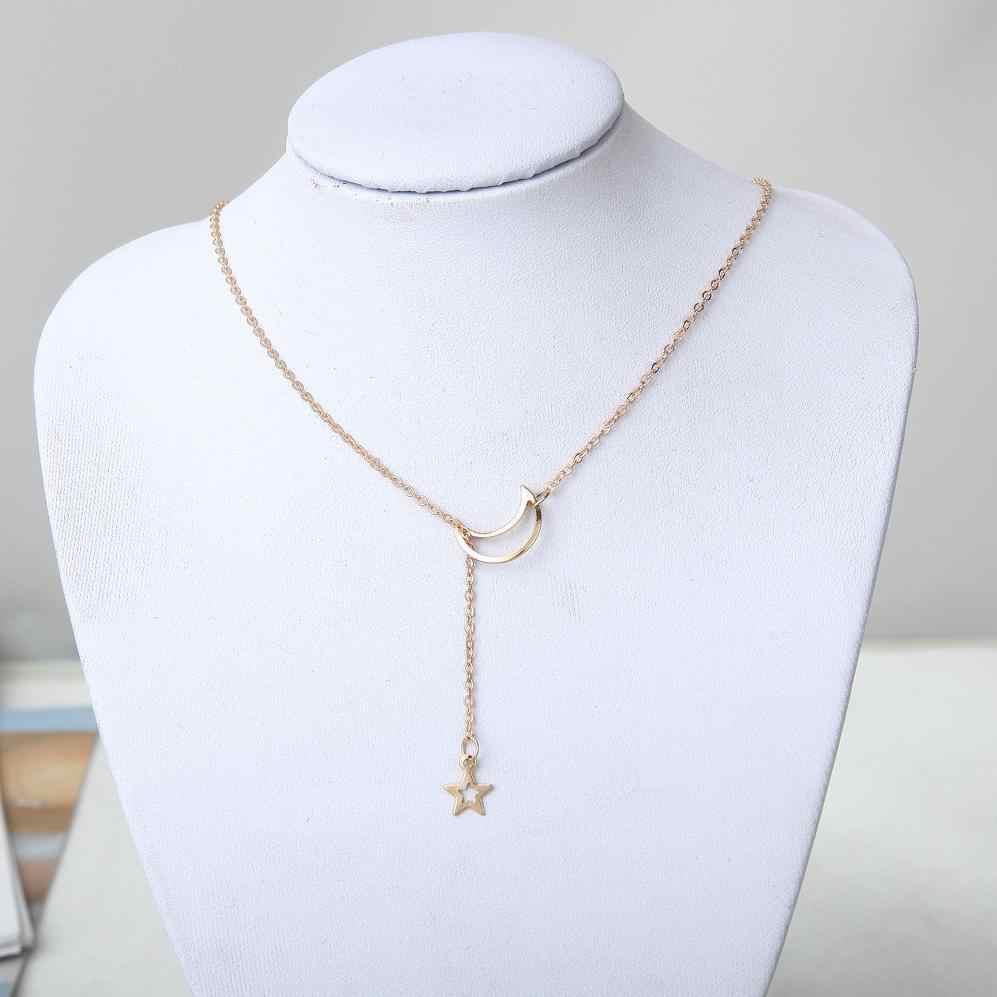 Thời trang Trăng Sao Pendant Choker Vòng Cổ Vàng Màu Hợp Kim Kẽm Chuỗi Vòng Cổ Necklace Cho Đảng Nữ Jewelry Bắn Cung Vòng Cổ