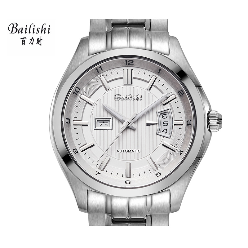 BAILISHI silver men watch fashion brand luxury mens mechanical wristwatches relogio masculino waterproof stainless steel watch 2pcs car led license plate lights 12v smd3528 number plate lamp bulb kit no error for ford mondeo mk2 fiesta fusion accessories