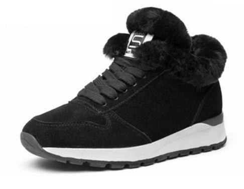 2019 nouveau cuir fourrure à lacets femmes chaussures de Sport talon plat.