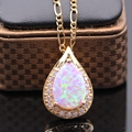 Luxury Necklace Pendant White Bule Pink Fire Opal&AAA Zircon Gold Plated Waterdrop Pendant For Gift of Love