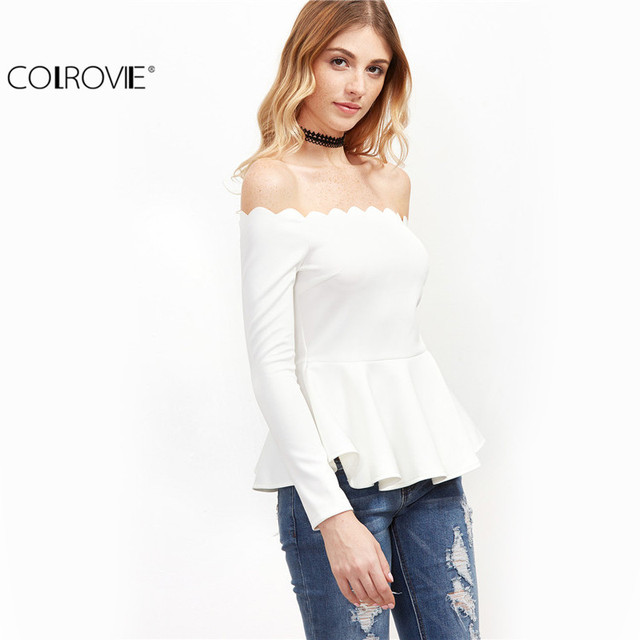 COLROVIE Women Tops and Blouses New Fashion Off Shoulder Top White Scallop Off The Shoulder Peplum Top Fashion Blouse