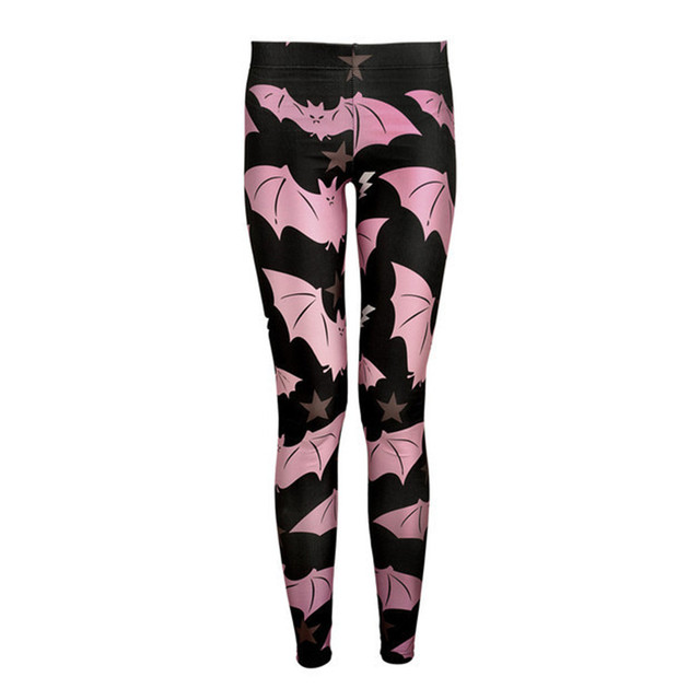 Digital Print Women Pink Bat Leggings Fitness Clothes Ladies Funky Black Pants Women's Stretchy Trousers Jeggings Pencil Capris