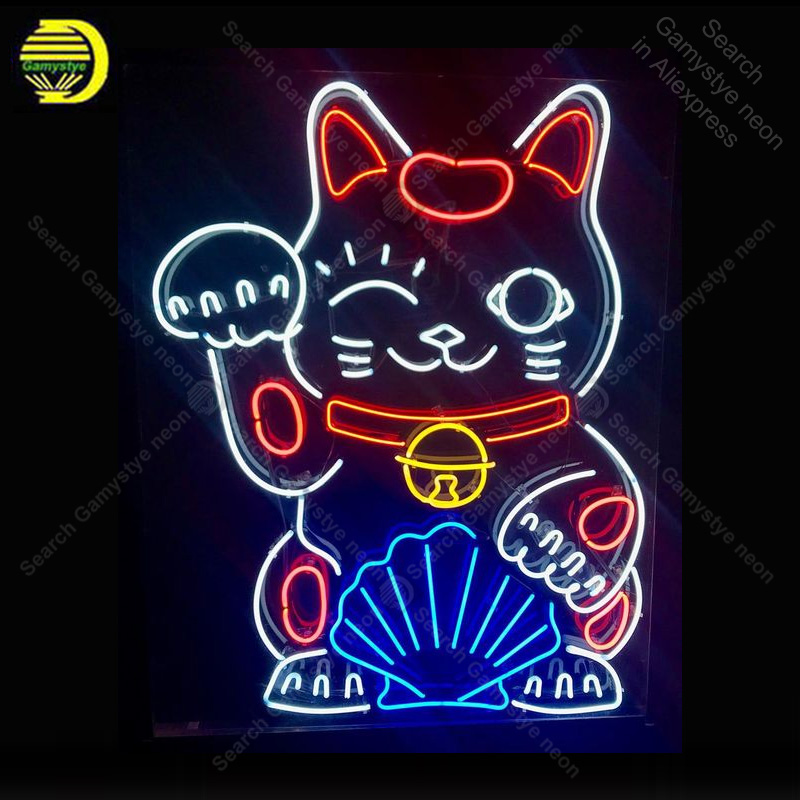 Chinese Lucky Cat Neon Sign Las Vegas Bulb Handcrafted Recreation Room Iconic Sign Light Neon Art Sign Store Display Advertise A Plastic Case Is Compartmentalized For Safe Storage Neon Bulbs & Tubes