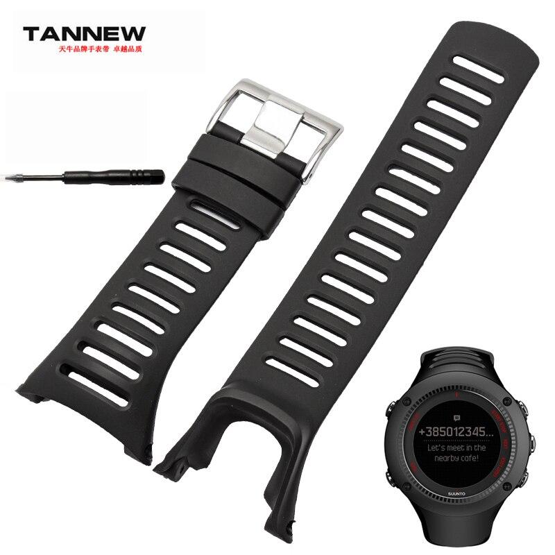 Watch Accessories,high Quality Silicone Strap Black Rubber Strap Applicable SUUNTO AMBIT Series 1/2/3