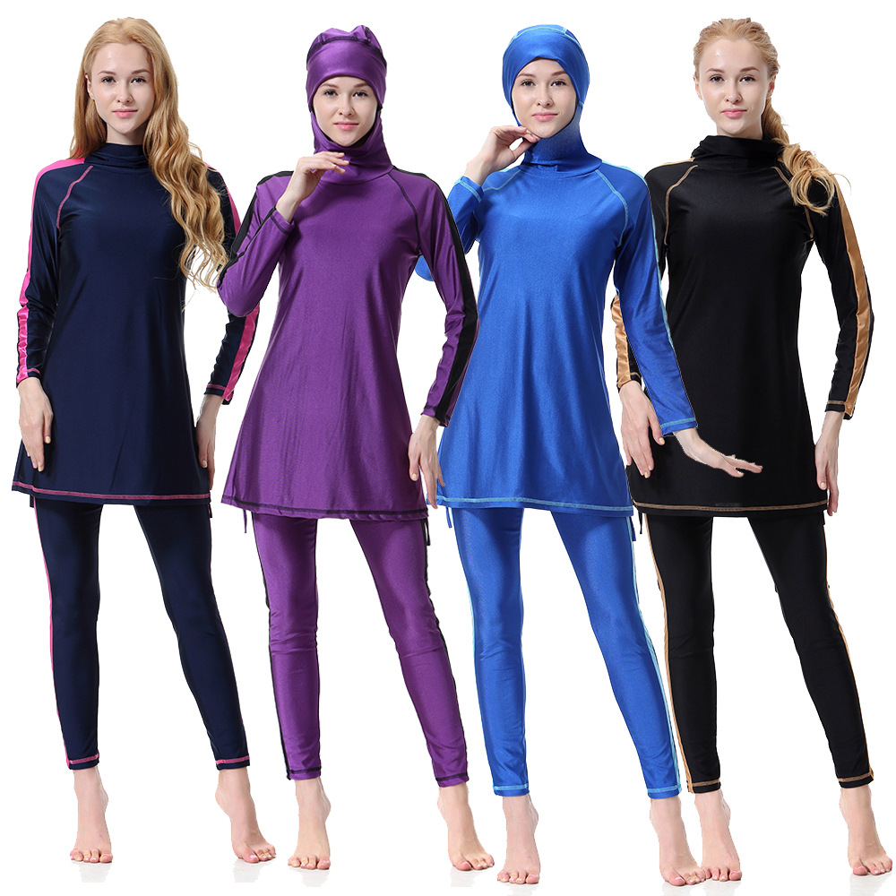 2019 Muslim Swimsuit Three-piece Swimsuit with Hat and Blouse Muslim Wear for Women Solid Maillot De Bain Islamique2019 Muslim Swimsuit Three-piece Swimsuit with Hat and Blouse Muslim Wear for Women Solid Maillot De Bain Islamique