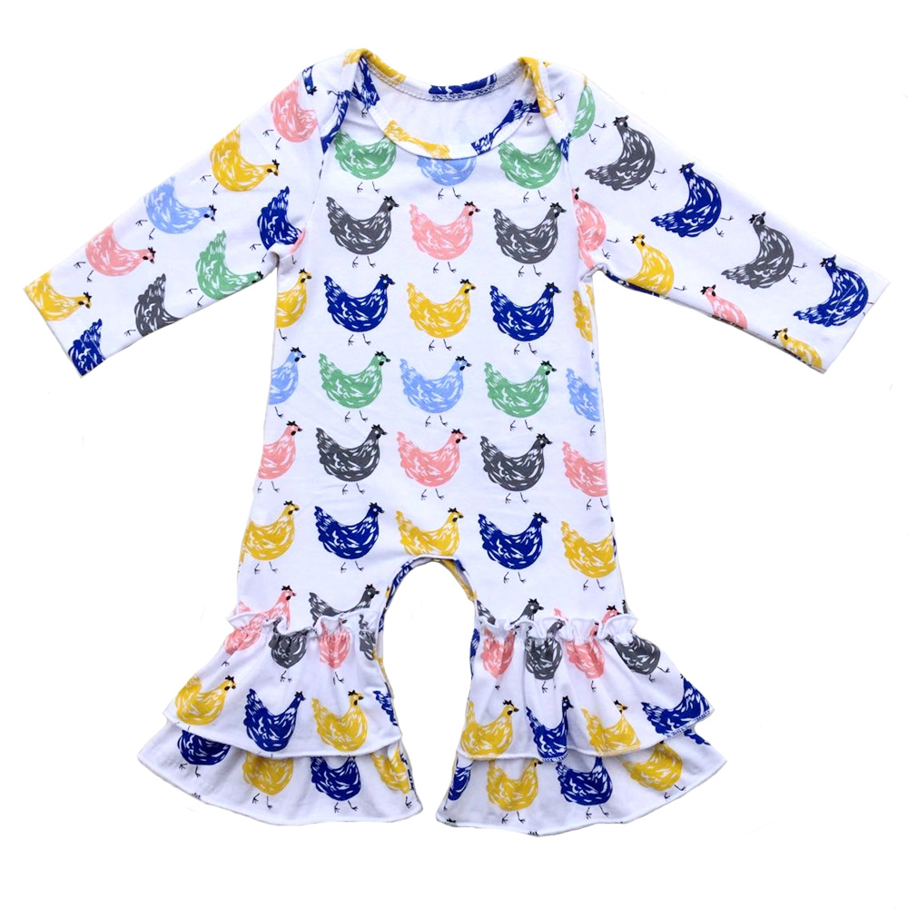Boutique newborn baby sleeper animals floral printed sleepers baby   romper   pajama gowns cotton icing ruffled leg   romper   pants