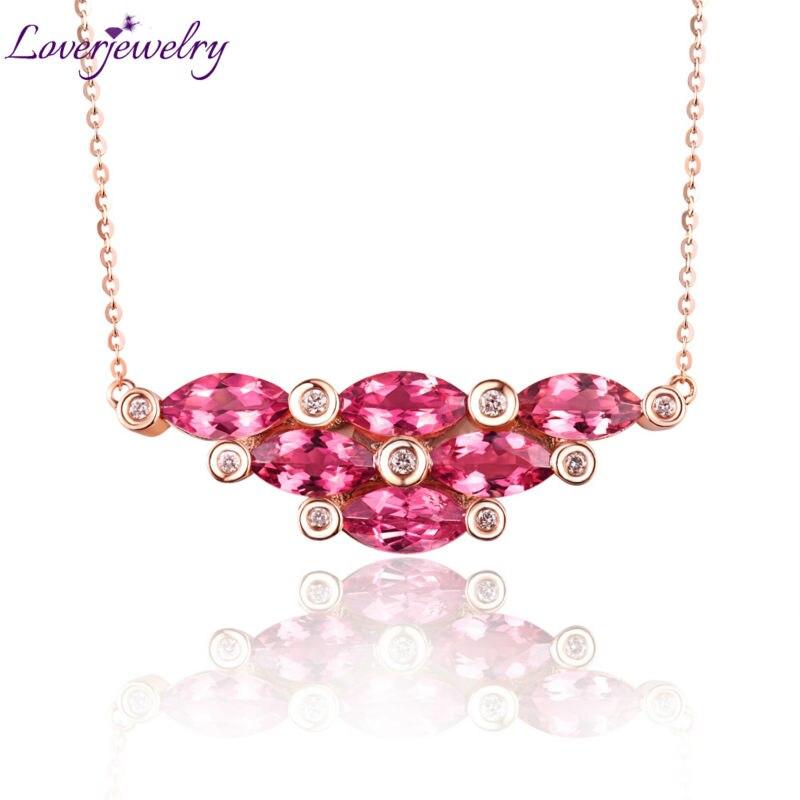 Luxury 18K Rose Gold Diamond Marquise Tourmaline Pendant font b Necklace b font Natural Diamond for