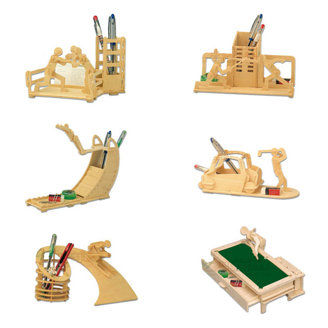 wood puzzle 3d wooden sports pen container jigsaw puzzle toy