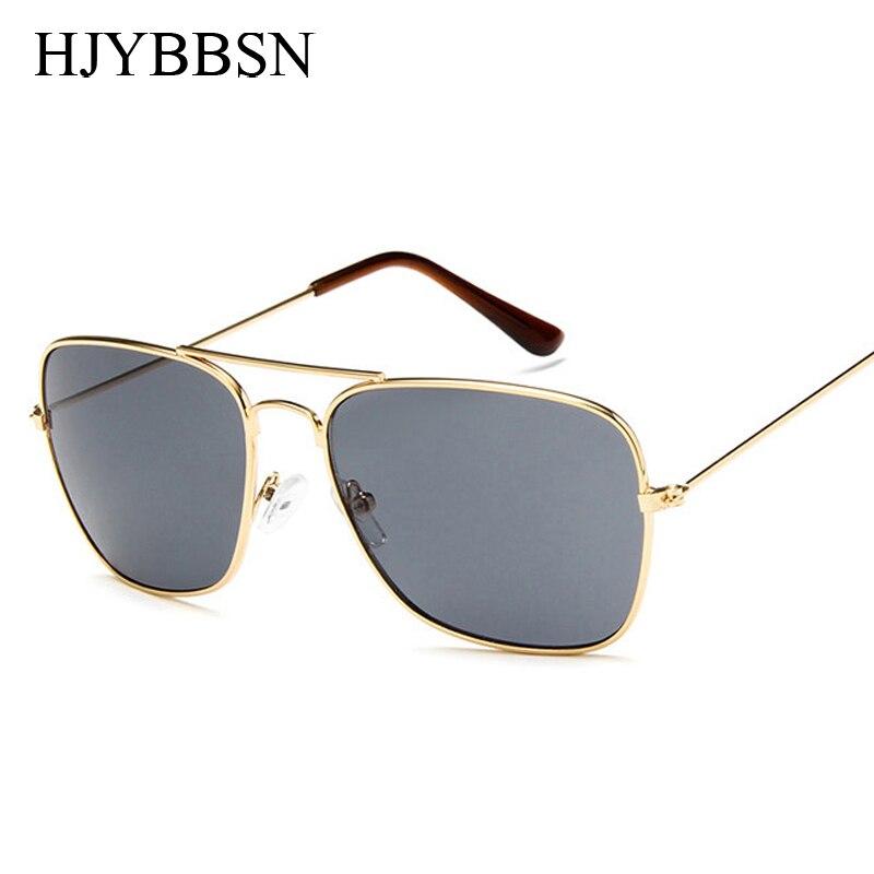 Square Sunglasses Shades Metal-Frame Eyewear Female Women Ladies Mirror For Gold
