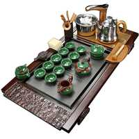Large Number Chinese tea set Home ceramic automatic solid wood tea tray tea ceremony Simple kungfu tea Table Home gift preferred