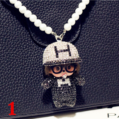 The New Cute Car Accessories Diamond Mengjiji Crystal Ornaments Lady Pendant Rearview Mirror
