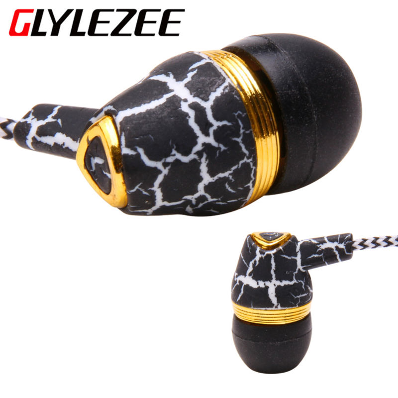 Glylezee Crack Earphone In-Ear Cloth Line Headset Stereo Bass Music Earpieces with Microphone For Mobile Phone MP3 Player