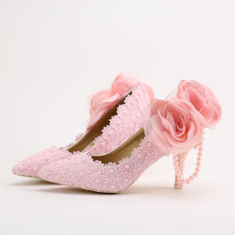 ФОТО PINK flowers pumps shoes for woman flowers thin heels ladies point toes party proms pumps shoes pink lace TG853 pearls