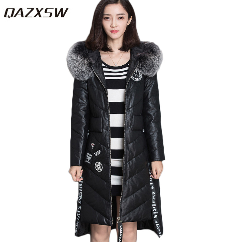 QAZXSW New Winter Coat Women Super Warm Outwear Slim Long Parkas Mujer Invierno 2017 Cotton Coat Hooded Quality PU Coat HB391 qazxsw new winter cotton coat hooded padded women parkas mujer invierno 2017 winter jacket women warm casacos femininos hb221