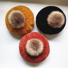 Fashion Winter Children Wool Soft Beret Caps Autumn Women's Casual Polyester Fur