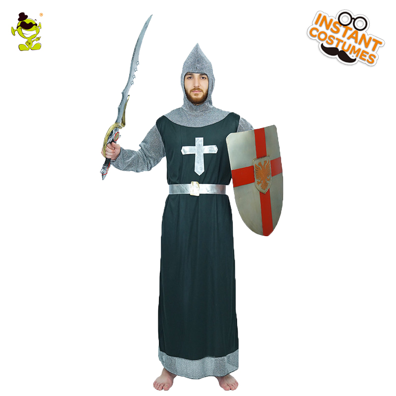 Medieval Knight Warrior's Costume Men's Medieval Crusader Role Play Fancy Dress Adult Warrior Long Robe Party Outfits
