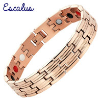 2015 Men 4in1 Magnets Negative Ions Germanium Far Infar Red Titanium Bracelet Rose Gold Bangle Free