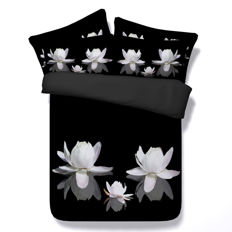 Black and white bedding set 3D floral water lily duvet cover <font><b>bed</b></font> sheets twin queen super king size double linen bedspread quilt