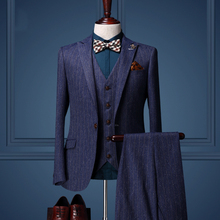 Cajerin High Quality 2016 New Spring Men Wedding Business Party Suits Set Jacket + Vest + Pant 3 Pieces Casual Blue Striped Slim