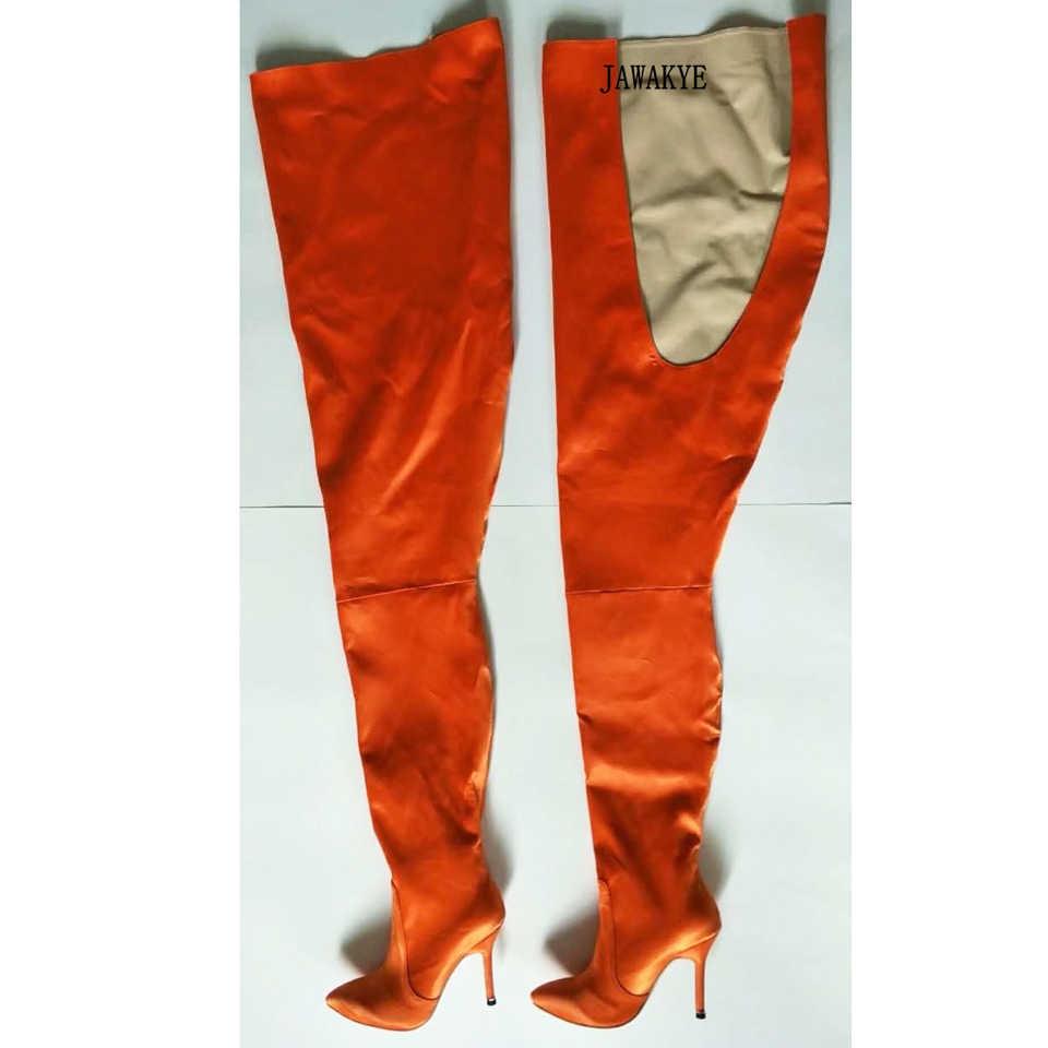 JAWAKYE Sokak Moda Floresan orange Yüksek Bel Diz Çizmeler Üzerinde Kadın Seksi Saten Popüler moda Uyluk Yüksek Çizmeler