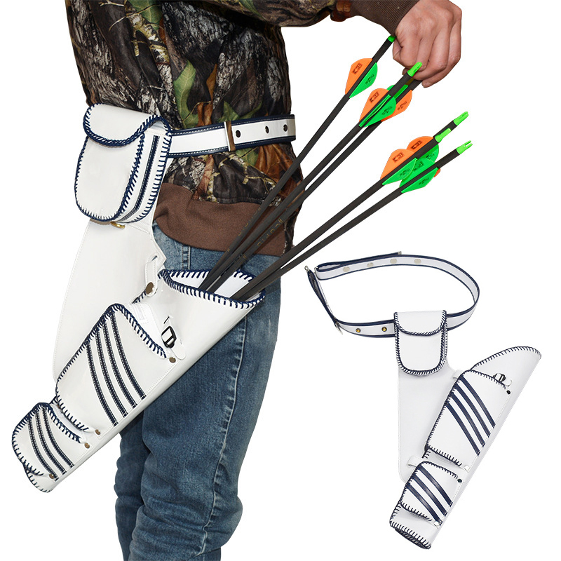 1 Piece White Strap Archery Quiver 22 Arrows Quiver Simply Quick Waist Hanging Holder Arrow Case for Compound Bow Recurv simply computing for seniors