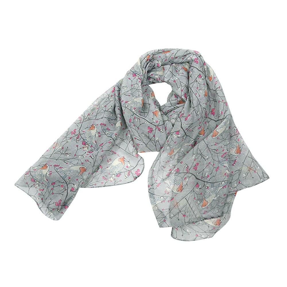Newest Fashion Women Shawls Women Ladies Long Cute Winter Christmas Robin Bird Patten Print   Scarf     Wrap   womens Neckerchief