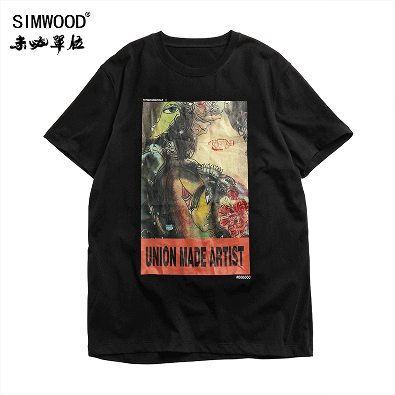 SIMWOOD 2019 summer new Chinese style t-shirt men fashion hip hop artistic drawing print streetwear tops cotton tshirt 190245 image