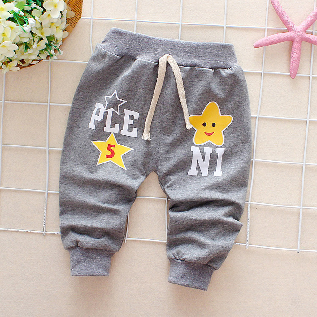 NEW Spring Winter 2019 For Baby Girl Boy Drawstring Soft Pants Cartoon Letter Printed Keep Warm Trousers Thickened Casual Pants in Pants from Mother Kids