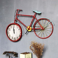 American old antique silent wall clock Creative bicycle clock Colorful wrought iron living room wall clock indoor wall clock