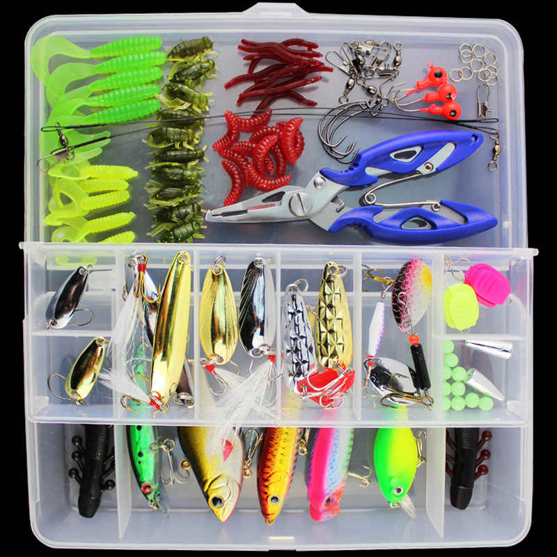 Night Fishing Lures Crank Bait Hooks Bass Fish Crankbait Tackle Set 45//70//100PCS