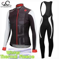 2016 Winter Thermal Fleece Pro Team Cycling Jersey Long Sleeve Bicycle Bike Clothing Ropa Ciclismo Gel