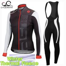 2016 Winter Thermische Fleece Pro Team Radfahren Jersey Langarm Fahrrad Kleidung Ropa Ciclismo gel pad trägerhose