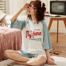 2019 Summer Pajamas Suit for Women Cartoon Girls Short Sleeve Fashion Tracksuit Cotton Pants Set Clothing