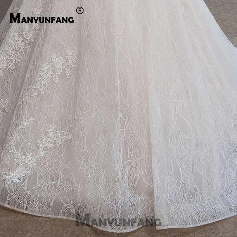 חתונה שמלות כלה שמלות Vestido דה Noiva חתונה מפוארת שמלת כובע שרוולים 2019 קו ואגלי אבנט כלה שמלה