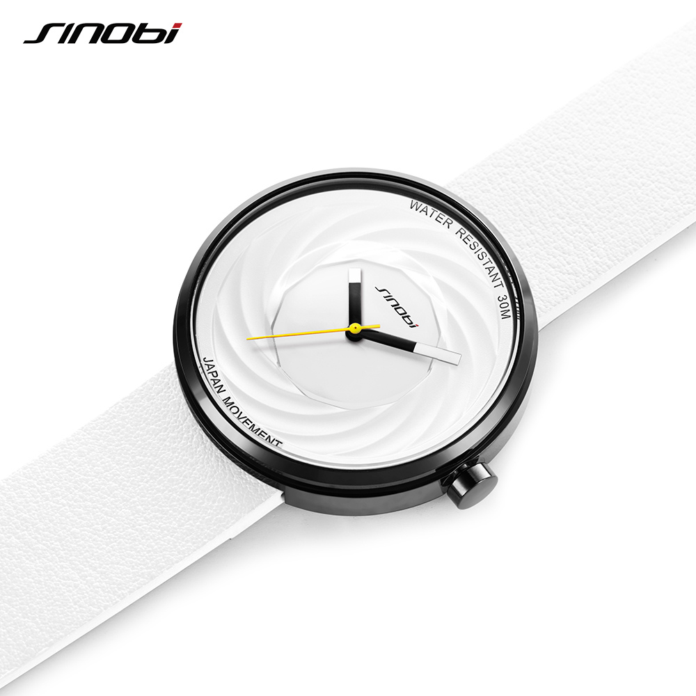 SINOBI Fashion Military Watch Women New Creative Eddy Design High Quality Leather Strap White Watches Casual Relojes Para Mujer