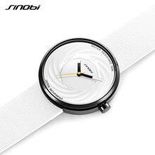 Sinobi Reloj de moda para mujer, diseño creativo de eddy, correa de cuero de alta calidad, blanco, informal