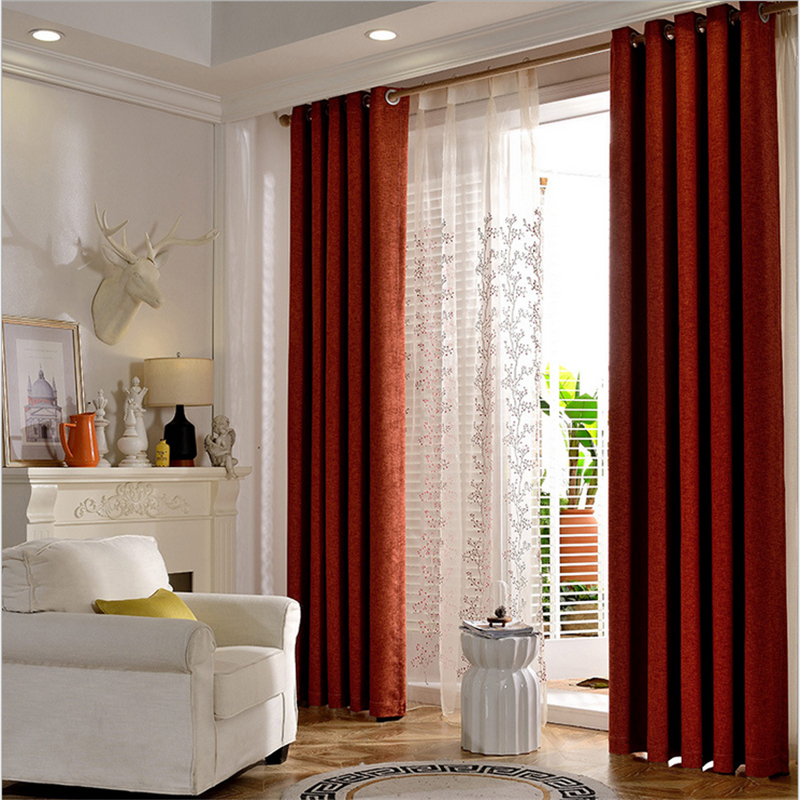 Byetee Bedroom Curtains For Living Room Solid Color Cotton Linen Curtain Blackout Drapes