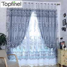 Topfinel Grey Luxury Jacquard Tulle Sheer Window Curtains for Living Room the Bedroom Embroidered Shade Voile Drapes Panel