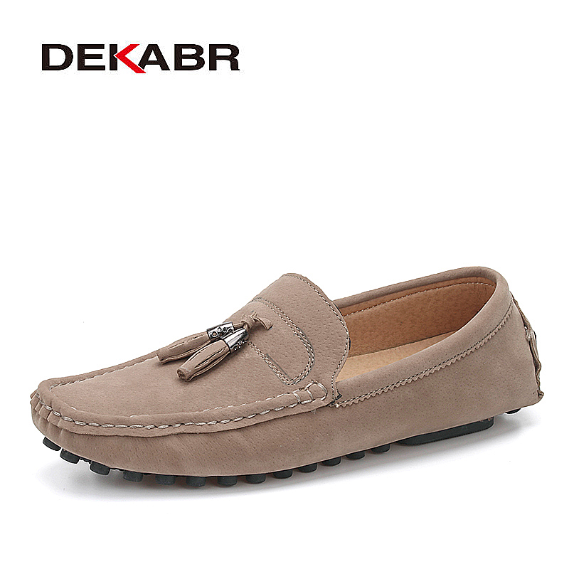 DEKABR Brand Handmade Men Shoes High Quality Loafers Anti-Skid Driving Shoes Breathable Slip-On pu Leather Mocassins Shoes Men