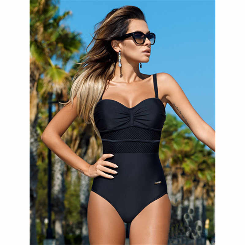 2017 Newest One Piece Swimsuit Women Sexy Mesh Swimwear Patchwork Bodysuit Bathing Suit Monokini Beach Swimming Suit clothes